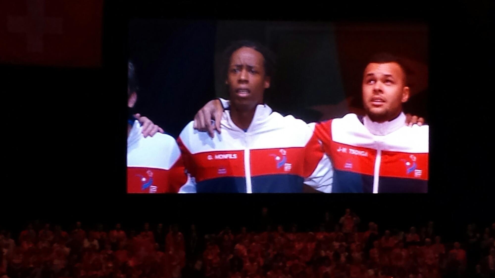 Monfils Tsonga Sing National Anthem
