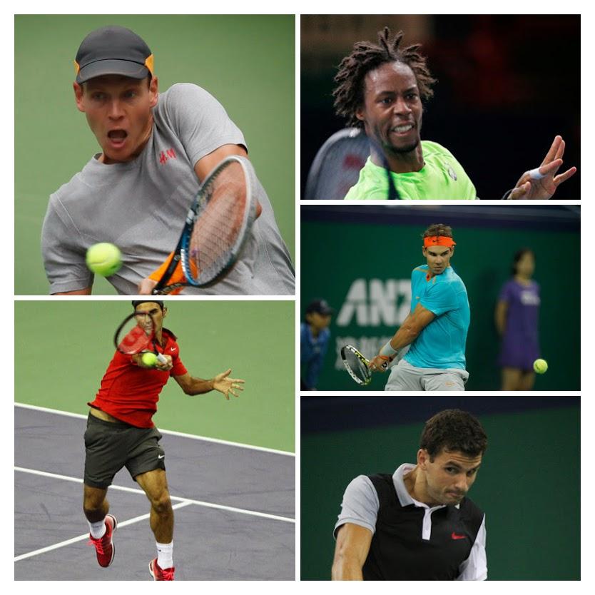 L-R: Roger Federer, Tomas Berdych, Grigor Dimitrov, Rafa Nadal, & Gael Monfils. Images from Zimbio.