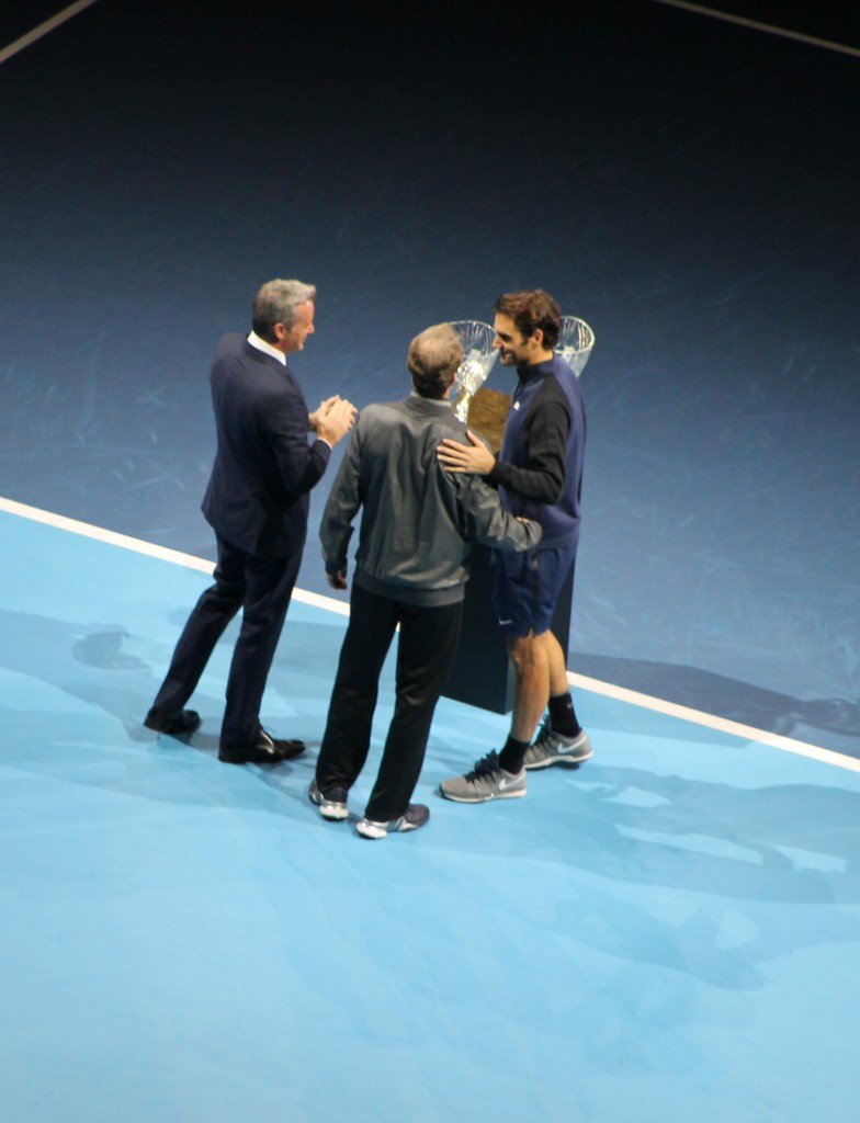 Stefan Edberg presenting Roger Federer with his ATP Awards