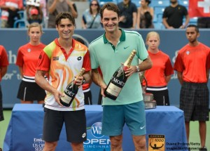 David Ferrer & Roger Federer smile at the trophy ceremony