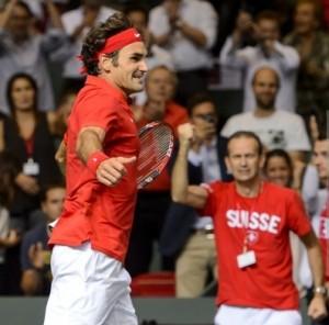 Federer leaps for joy