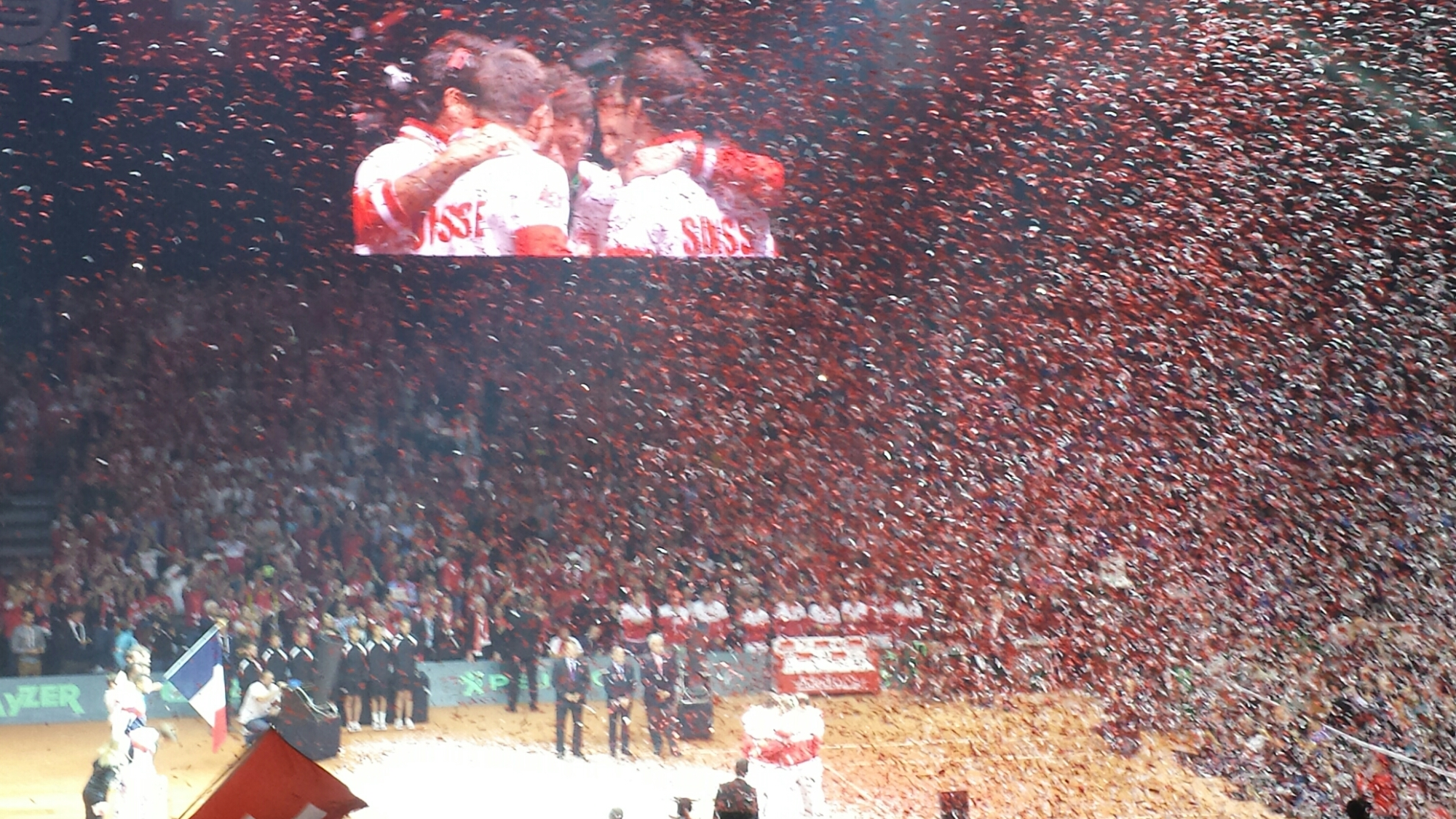 Swiss Team with Confetti
